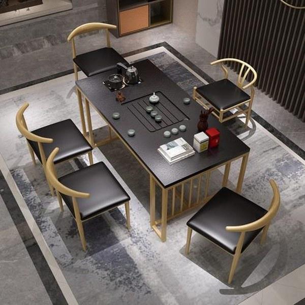 bộ bàn ghế chân sắt kết hợp da và mặt đá